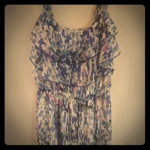 Bluish tank dress with ruffles